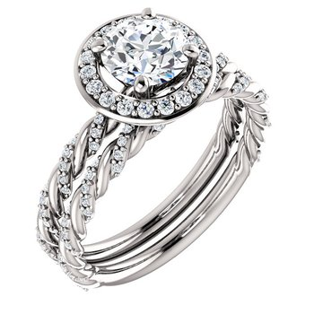 14k White Gold Twist Rope Round Halo Engagement Ring - #42481