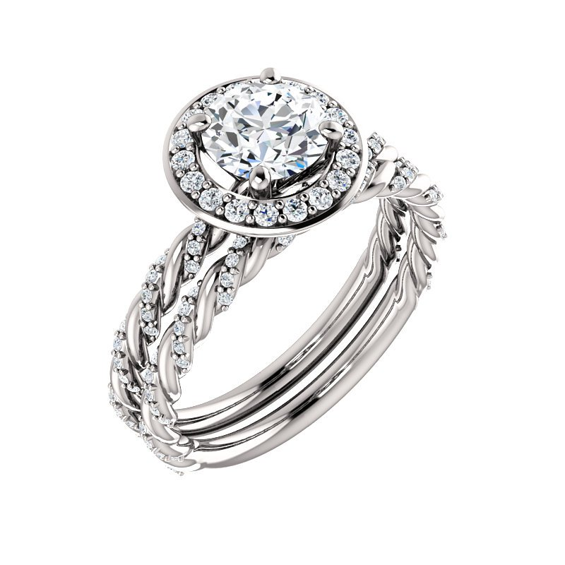 Signature Collection 14k White Gold Twist Rope Round Halo Engagement Ring - #42481