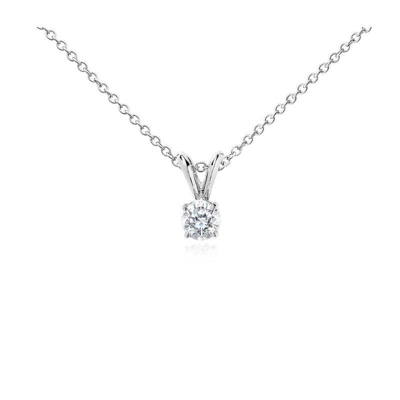 Signature Collection 14k White Gold Diamond Solitaire Pendant - P74W