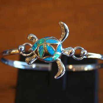 Sterling Silver Turtle Bangle Topper with Kyocera Lab Created Opal