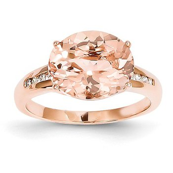 14k Rose Gold Ring with Oval Morganite and Diamond - #40524