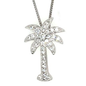 14k White Gold Diamond Palm Tree Pendant