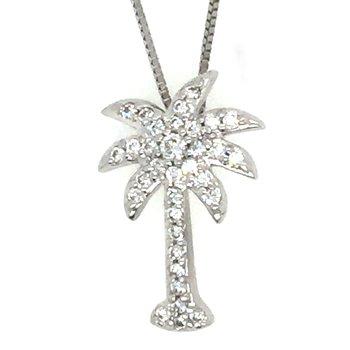 14k White Gold Diamond Palm Tree Pendant
