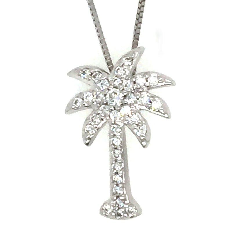 Sealife Jewelry 14k White Gold Diamond Palm Tree Pendant