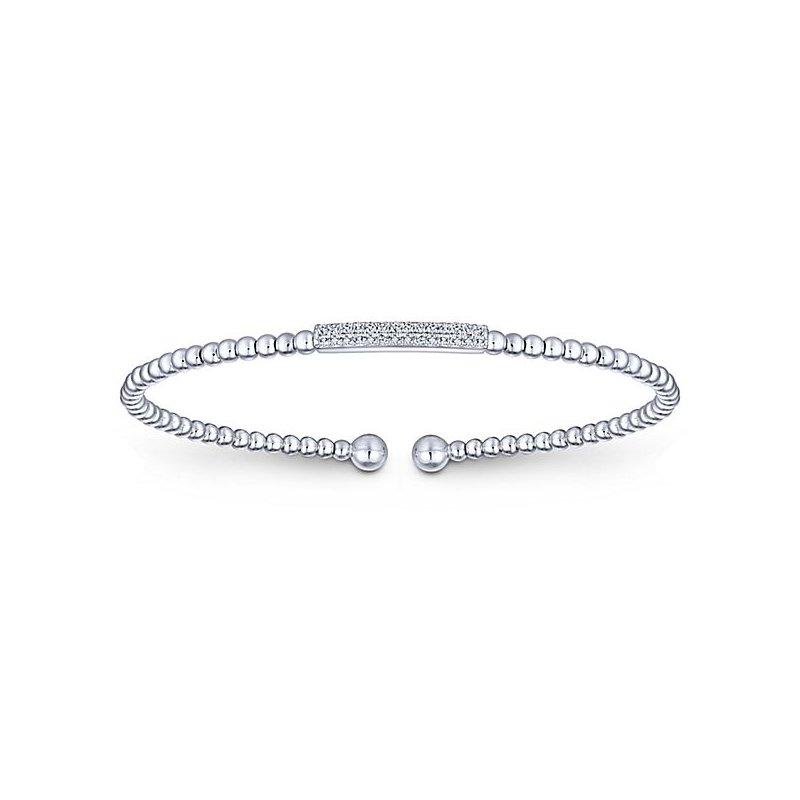 Signature Collection 14k White Gold Delicate Diamond Bangle Bracelet by Gabriel NY