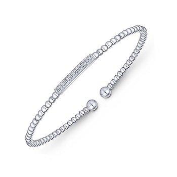 14k White Gold Delicate Diamond Bangle Bracelet by Gabriel NY