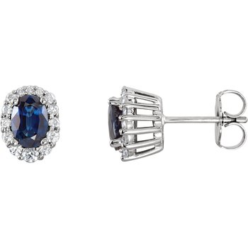 Genuine Blue Sapphire and Diamond Stud Earrings - #ELI85028SS