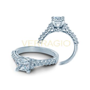 Verragio Classic 906 P 5.5 - 14k White Gold Princess Cut Engagement Ring