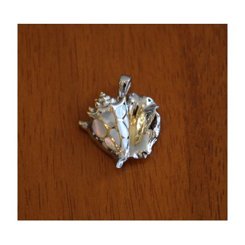 Sterling Silver and Gold Plate Queen Conch Shell Pendant  with inlaid White Mother of Pearl.