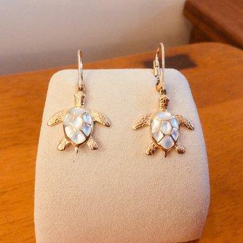 Kabana 14k Yellow Gold Turtle Earrings with Leverbacks