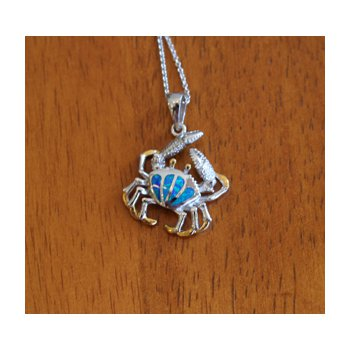 Sterling Silver and 18k Gold Plated Petite Fan Crab Pendant with Kyocera Lab Created Synthetic Opal.