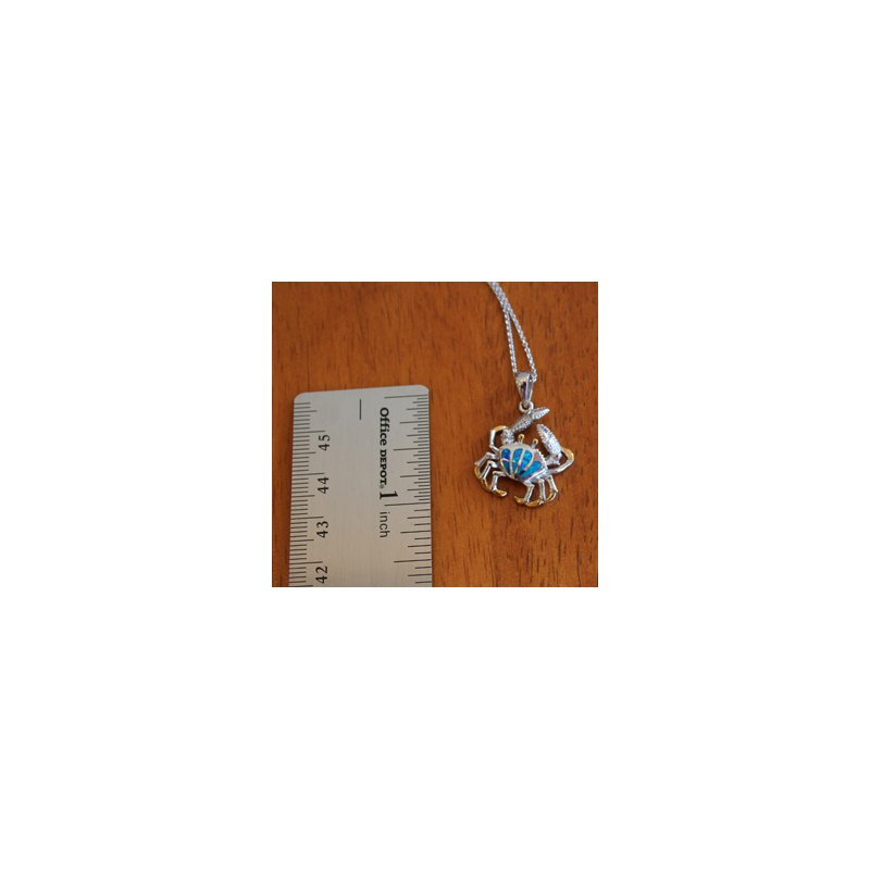 Kovel Sealife Sterling Silver and 18k Gold Plated Petite Fan Crab Pendant with Kyocera Lab Created Synthetic Opal.