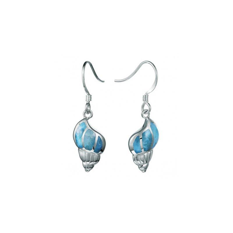Alamea Larimar  Alamea Sterling Silver Larimar Conch Shell Dangle Earrings