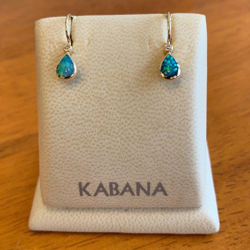 Kabana Jewelry 14k Yellow Gold Pear Shape Opal and Diamond Dangle Earrings