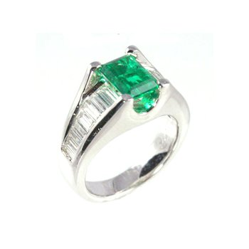 Genuine Emerald and Diamond Ring in Platinum - 25667