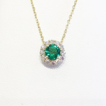 14k Yellow Gold Halo Emerald and Diamond Pendant - #41338
