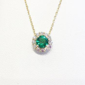 14k Yellow Gold Halo Emerald and Diamond Pendant - #41338