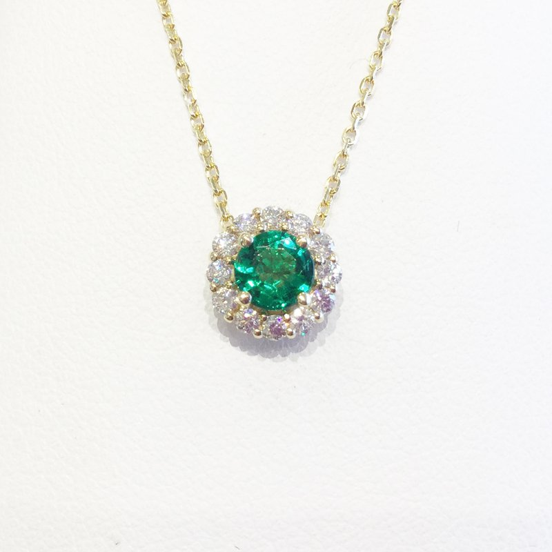 Signature Collection 14k Yellow Gold Halo Emerald and Diamond Pendant - #41338