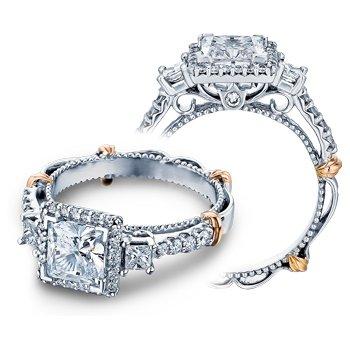Verragio Parisian D-122P - 14k White and Rose Gold Diamond Halo Engagement Ring by Verragio