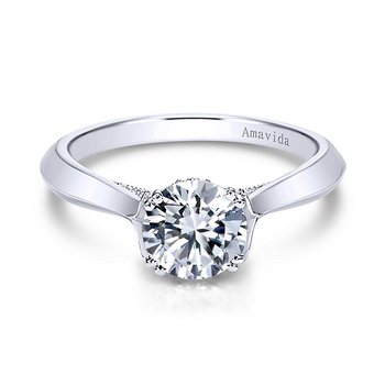 Platinum Solitaire Amavida Collection Engagement Ring Mounting by Gabriel NY