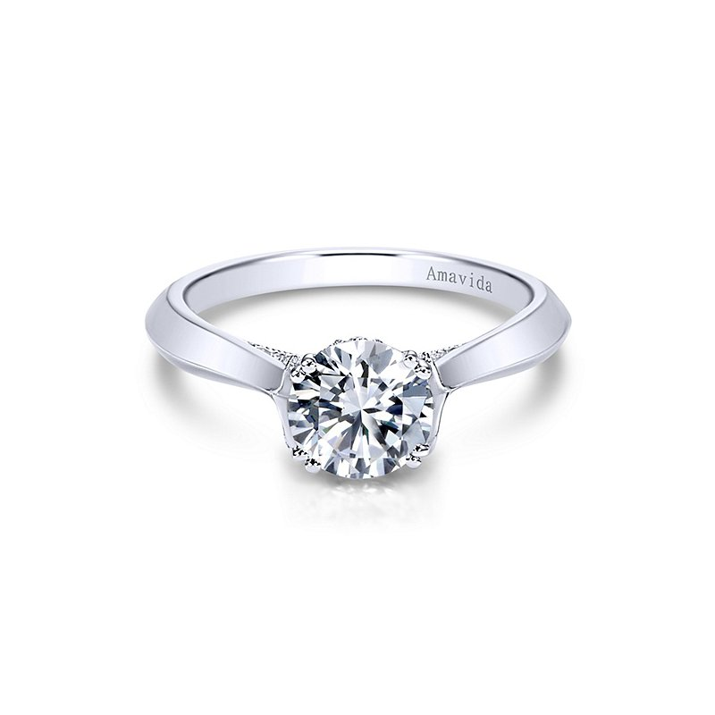 Gabriel NY Platinum Solitaire Amavida Collection Engagement Ring Mounting by Gabriel NY