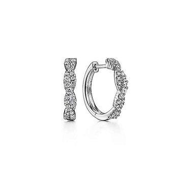 14k White Gold Twist Diamond Hoop Earrings by Gabriel NY