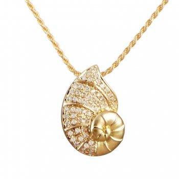 Alamea 14k Yellow Gold Diamond Nautilus Pendant