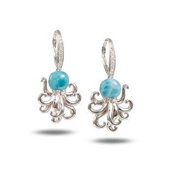 Alamea Sterling Silver Larimar Dangle Octopus Earrings