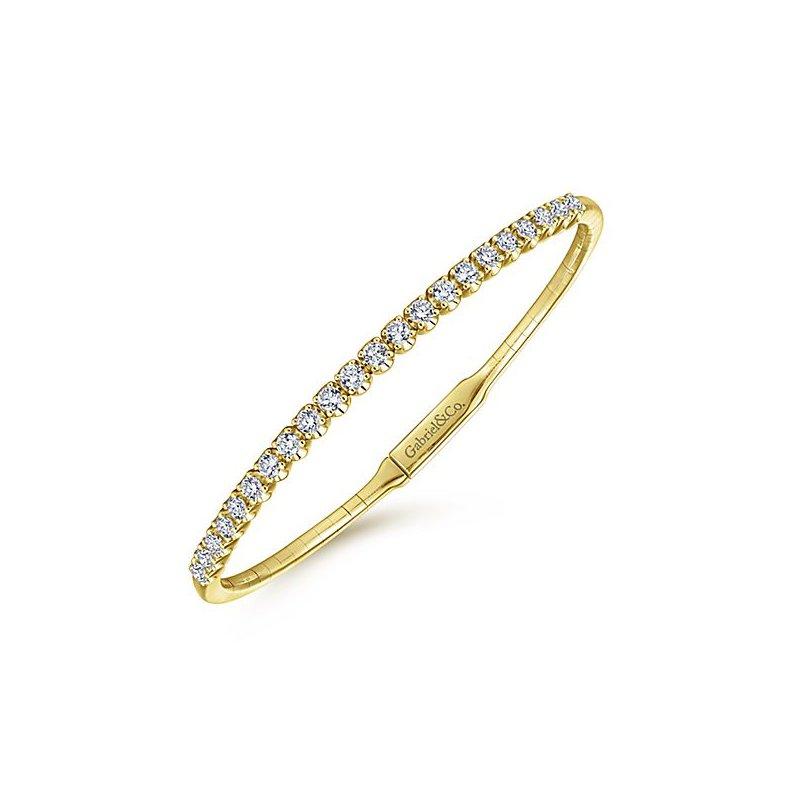 Signature Collection 14k Yellow Gold Diamond Bangle Bracelet by Gabriel NY