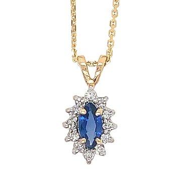 14k Yellow Gold Marquise Sapphire & Diamond Pendant