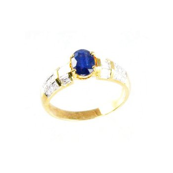 Genuine Blue Sapphire and Diamond Ring in 18k Yellow Gold - 7416