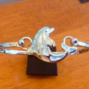 Sterling Silver and 18k Gold Plate Dolphin Topper with White Mother of Pearl