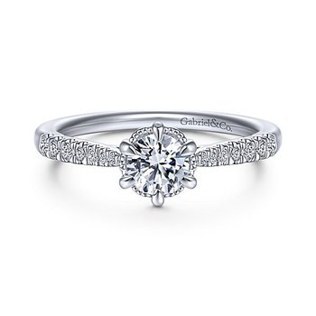 14k White Gold Straight Diamond Solitaire Engagement Ring By Gabriel NY