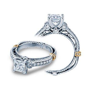 Verragio Venetian 5039P - 14k White and Rose Gold Princess Cut Diamond Engagement Ring by Verragio