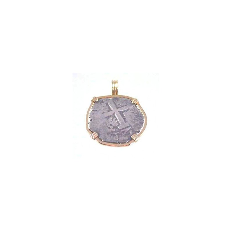Coin Jewelry Genuine Spanish 2 Real Silver Cob Coin framed in 14k Yellow Gold
