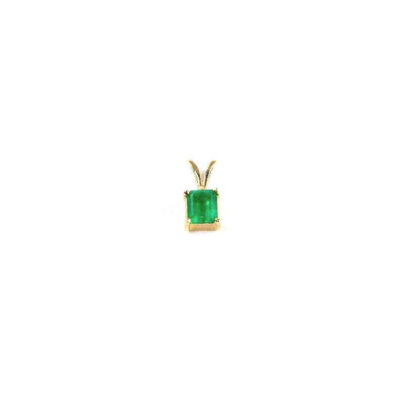 Signature Collection Genuine Colombian Emerald Pendant in 18k Yellow Gold - 22972