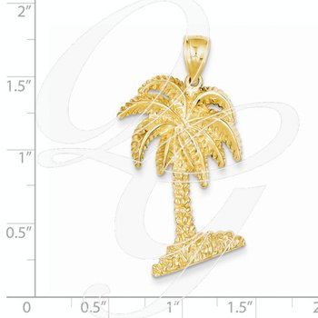 Quality Collection 14k Yellow Gold Large Palm Tree Pendant