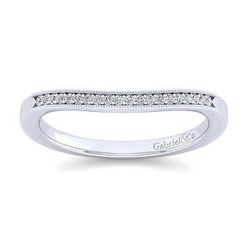 Gabriel NY 14k White Gold Vintage Style Curved Diamond Band Style #WB11721R4W44JJ
