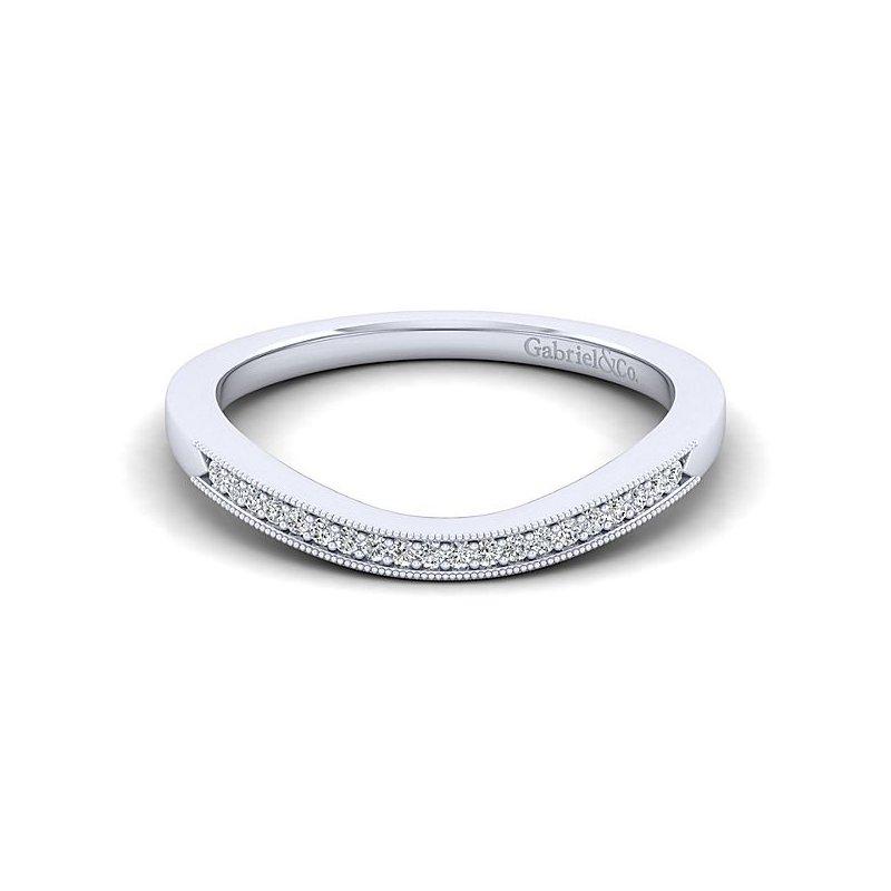Gabriel NY Gabriel NY 14k White Gold Vintage Style Curved Diamond Band Style #WB11721R4W44JJ