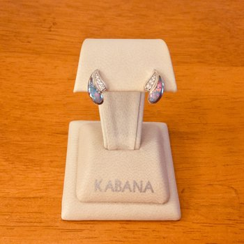 14k White Gold Kabana Earrings with Australian Opal and Diamond