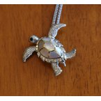 Kovel Sealife Sterling Silver and 18k Gold Plated Sea Turtle Pendant or Pin with White Mother of Pearl Inlay