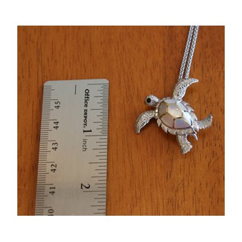Sterling Silver and 18k Gold Plated Sea Turtle Pendant or Pin with White Mother of Pearl Inlay