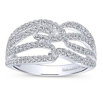 Gabriel NY 14k White Gold Criss Cross Diamond Pave' Anniversary Ring - Style #LR51338W45JJ