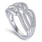 Gabriel NY Gabriel NY 14k White Gold Criss Cross Diamond Pave' Anniversary Ring - Style #LR51338W45JJ