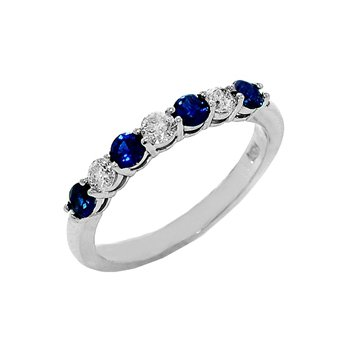 Genuine Blue Sapphire and Diamond Ring in 14k White Gold - 36088
