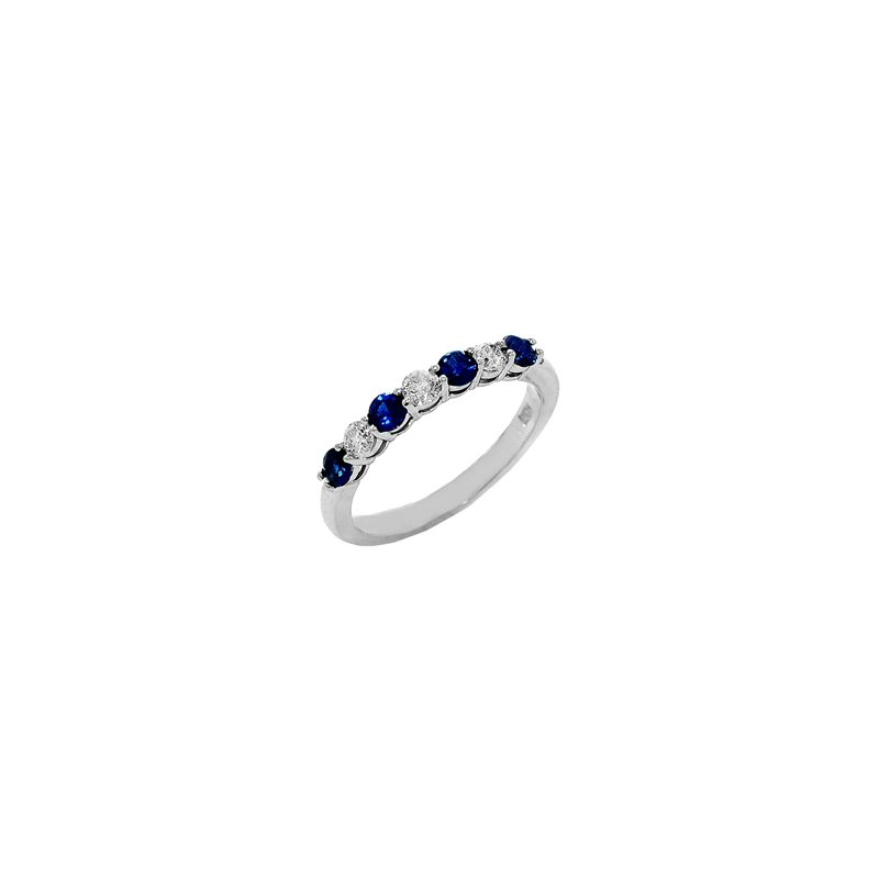 Signature Collection Genuine Blue Sapphire and Diamond Ring in 14k White Gold - 36088