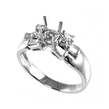 18k White Gold Baguette and Round Diamond Engagement Ring Mounting - #25998