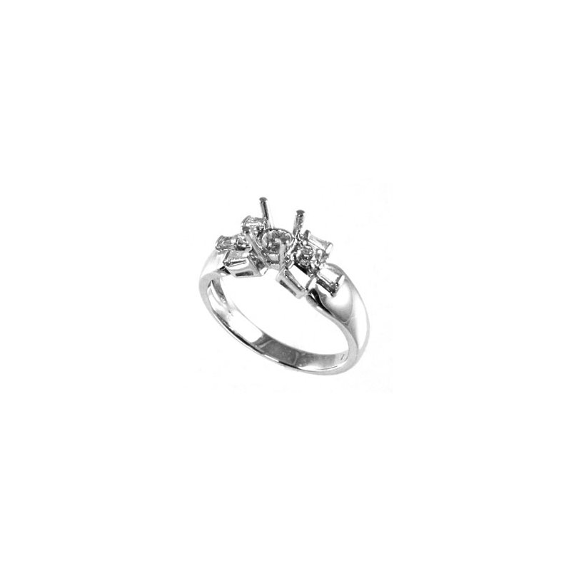 Signature Collection 18k White Gold Baguette and Round Diamond Engagement Ring Mounting - #25998