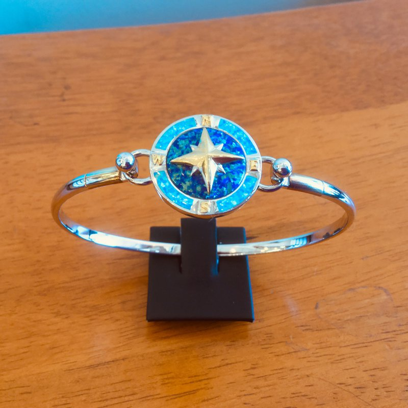 Kovel Sealife Sterling Silver and Gold Plate Compass Rose Topper with Lab Created Opal
