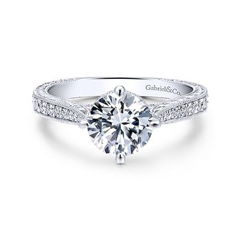 Arabella 14k White Gold Engraved Diamond Engagement Ring featuring pave' Diamonds by Gabriel NY